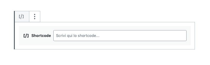 blocco shortcode